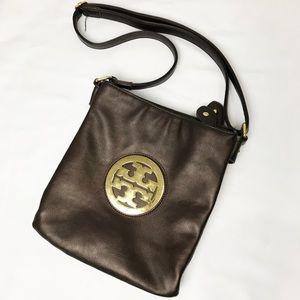 Tory Burch Brown Leather Crossbody Swingpack Purse
